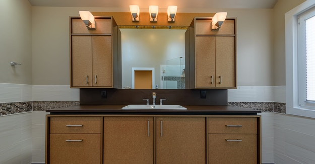 Featured Image for:Richlite Stratum Birch Bathroom Vanity & Millwork - Richmond, VA Case Study